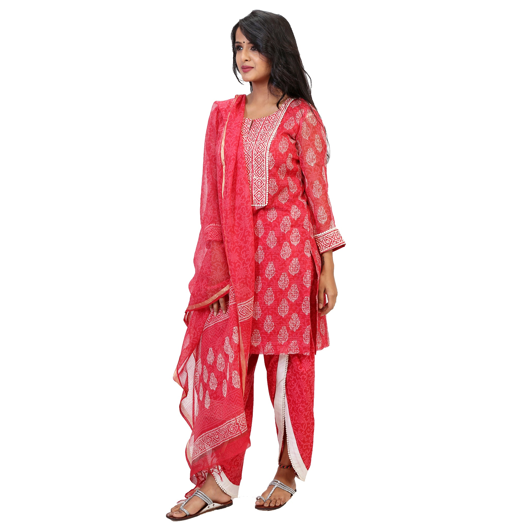 Pretty Pink Floral Suit Set With Trendy Dhoti Pants
