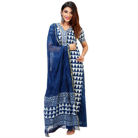 Indigo Block Print Straight Kurta Full Set With Dupatta