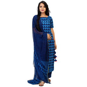 Indian Block Print Blue Suit Set With Pretty Tassels & Elegant Dupatta