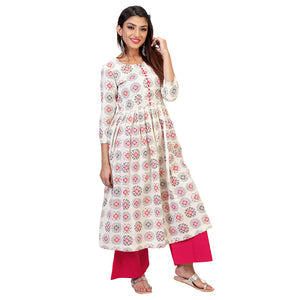 Handloom Cotton Anarkali Kurta Set With Pink Palazzos.