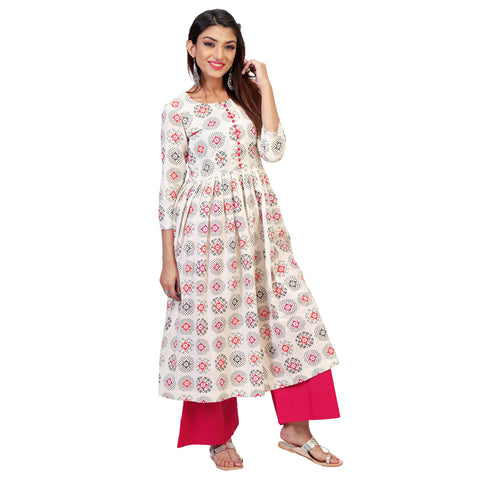 Handloom Floral Khadi Anarkali Kurta Set With Pink Palazzos.