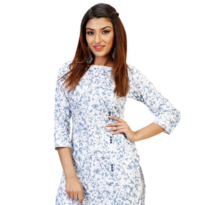 floral knee length cotton kurtas online for women