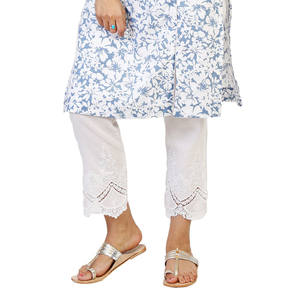 white straight fit cigarette pants with summer cotton kurta for women