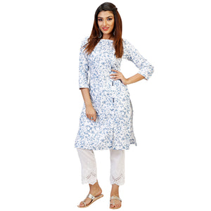 Spring Floral Kurta With Lacy Straight Pants