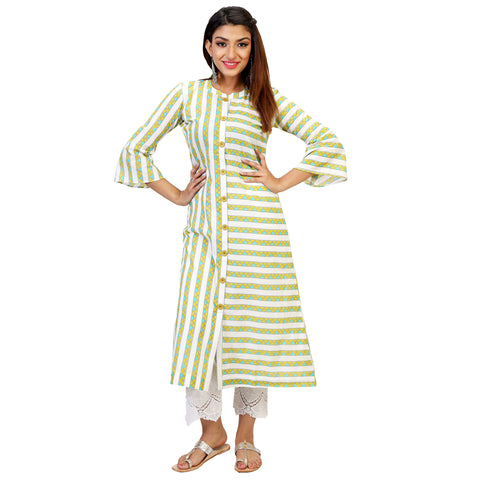 Green Triangle Print A-line Kurta With Cute Buttons