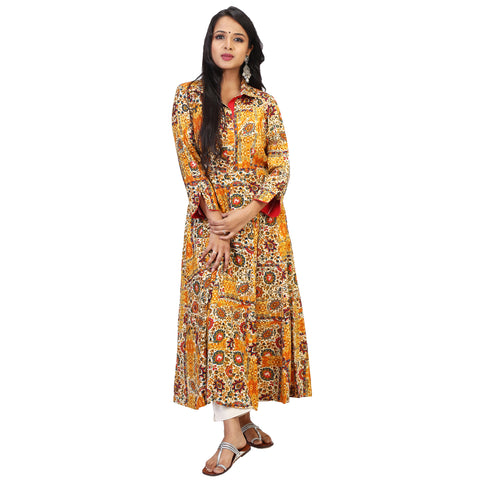 Tropical Yellow Rayon Kurta Set With Beige Straight Pants