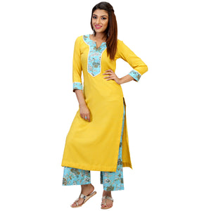 yellow-kurta-set-with-blue-palazzo-online
