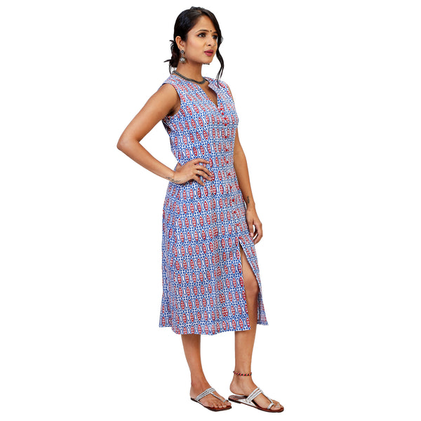 printed-cotton-knee-length-dress-for-ladies