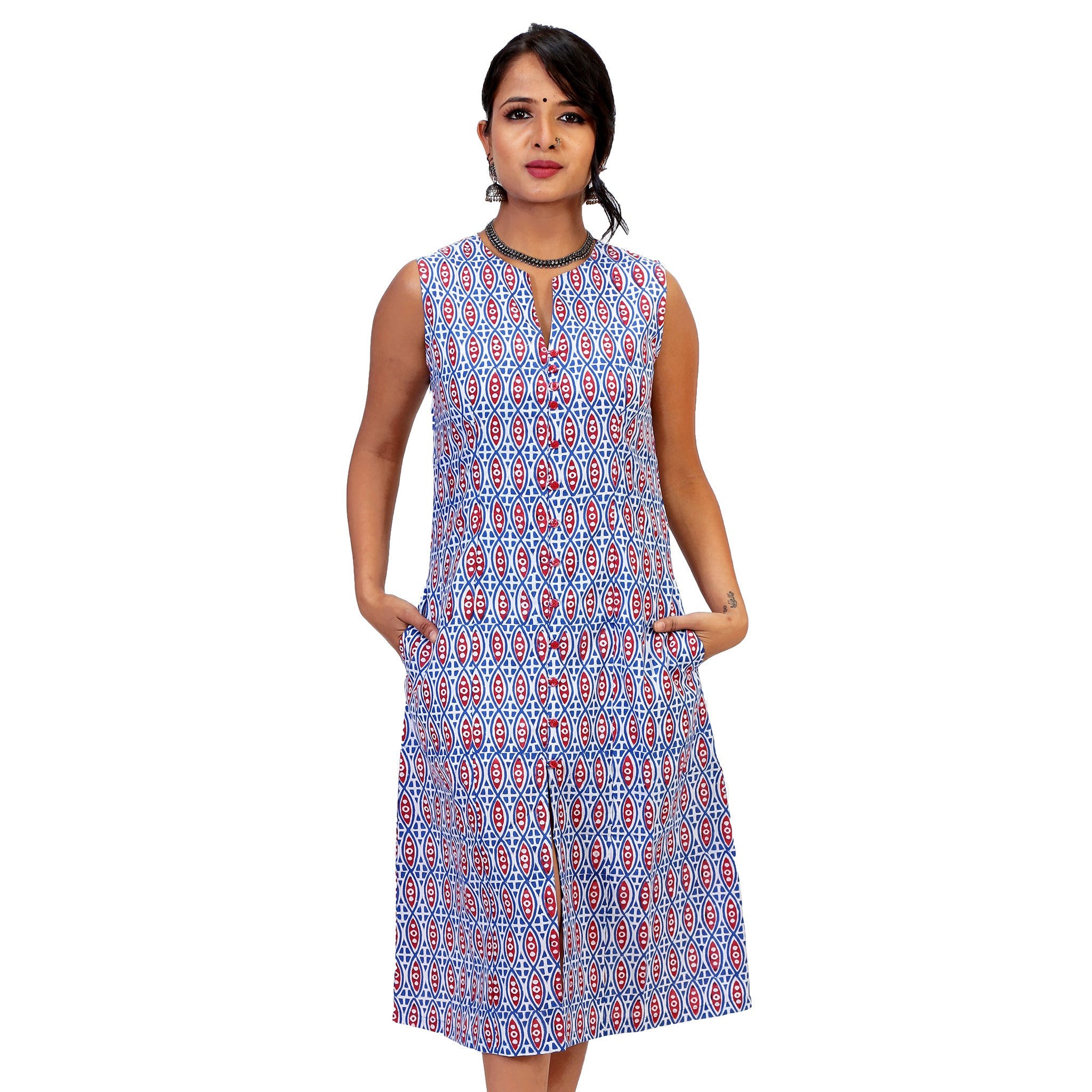 Printed-A-line-dress-for-women-and-girls