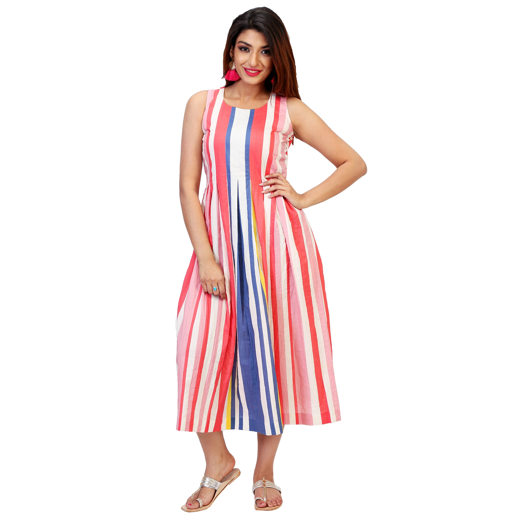 colourful stripes flared dress for women