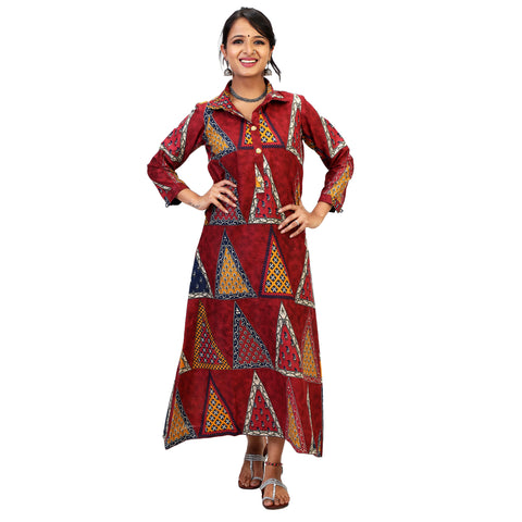 bagru print long dress for women online