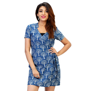 tre print indigo blue wrap dress for women
