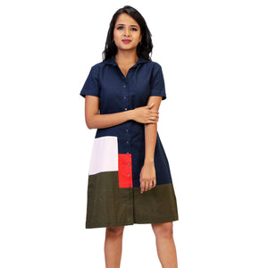 A-line colour block dress for women online