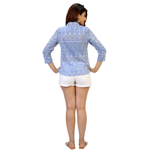 blue shirt with embroidery all over for women online