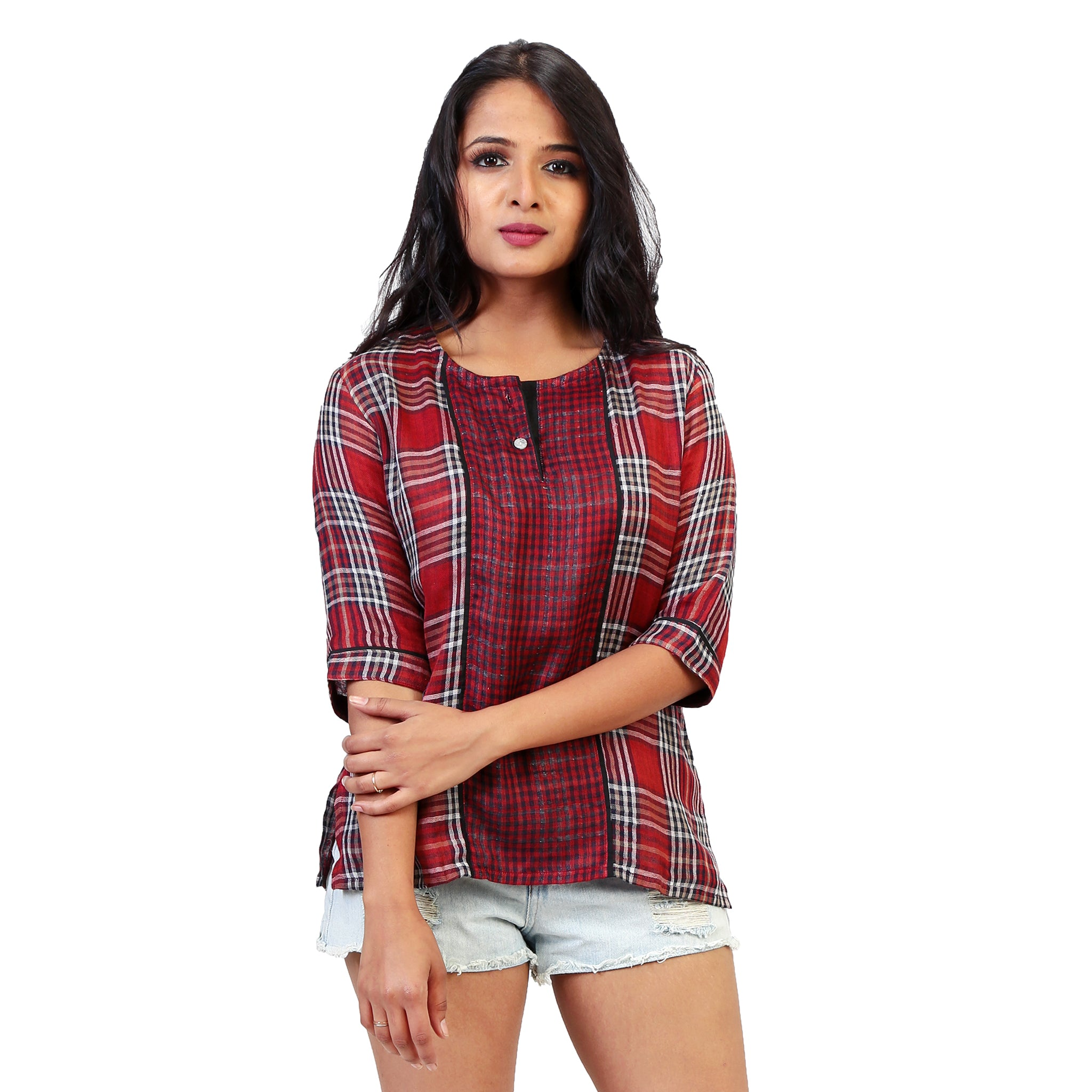 Trendy Checkered Semi Formal Top