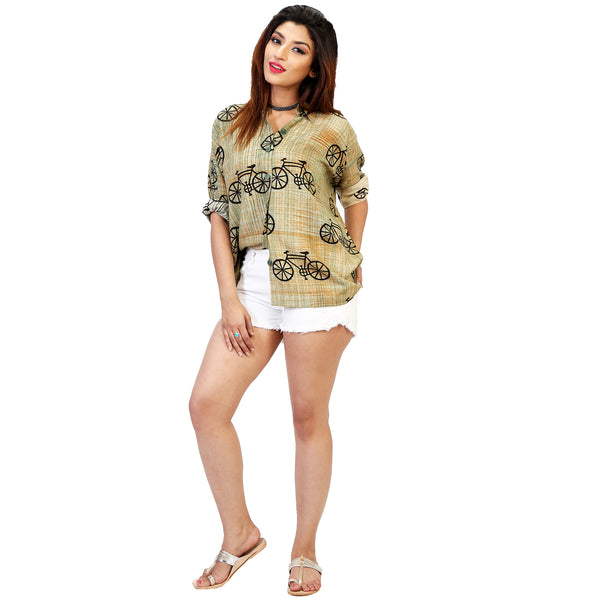 cycle print boyfriend shirt online for women