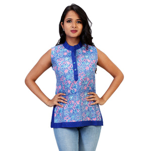 Tagai Work Floral Sleeveless Top With Blue Border