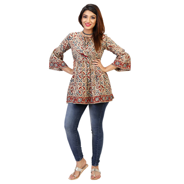 bagru-print-casual-jeans-top-for-women-online