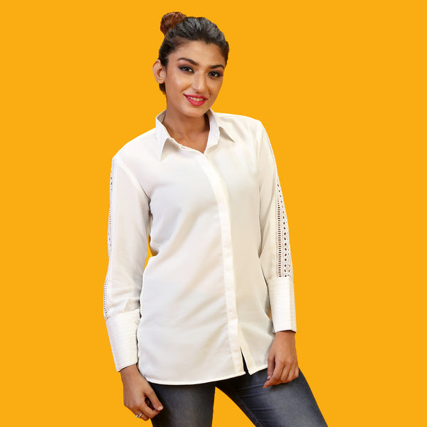 formal white shirt for women with lace