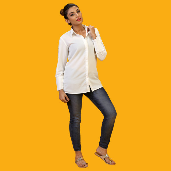 stylish white office shirt for women