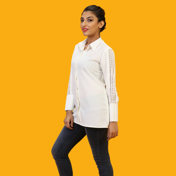 trendy white formal shirt for women online