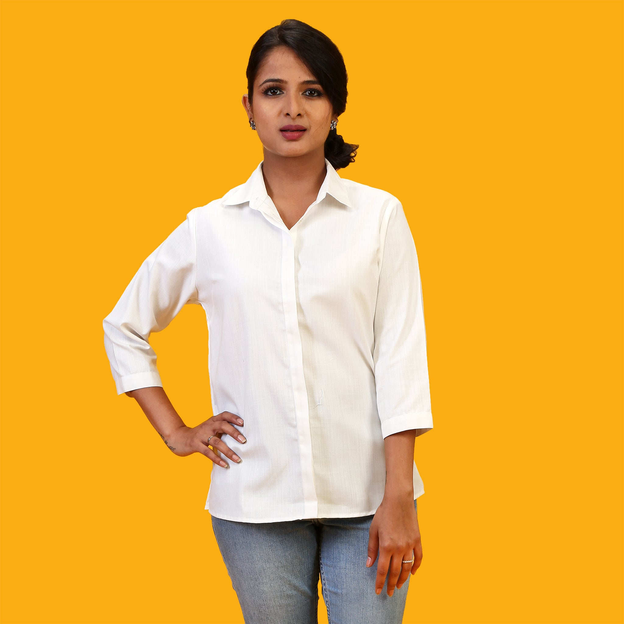 basic white formal shirt for women online