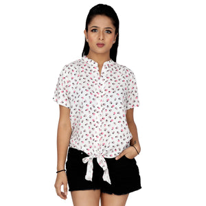Lady Bird Printed Front Knot Top