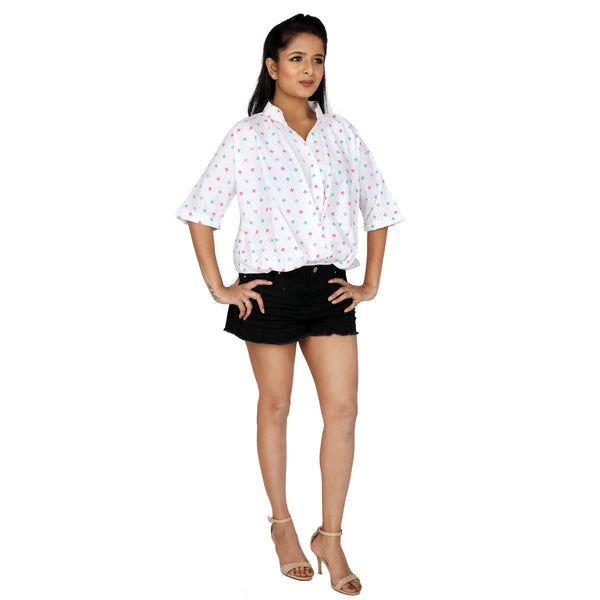 Relaxed Fit Front Gathered Semi Formal Shirt