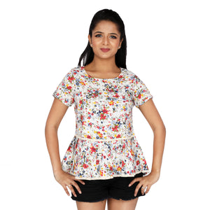Summer Flowers Peplum Top