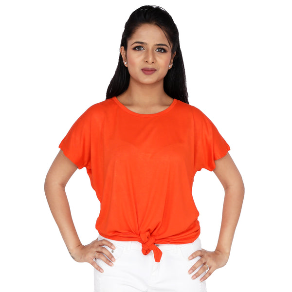 Happy Orange Front Knotted Tee