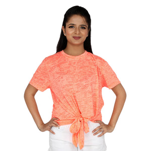 Light Textured Orange Front Knotted Tee