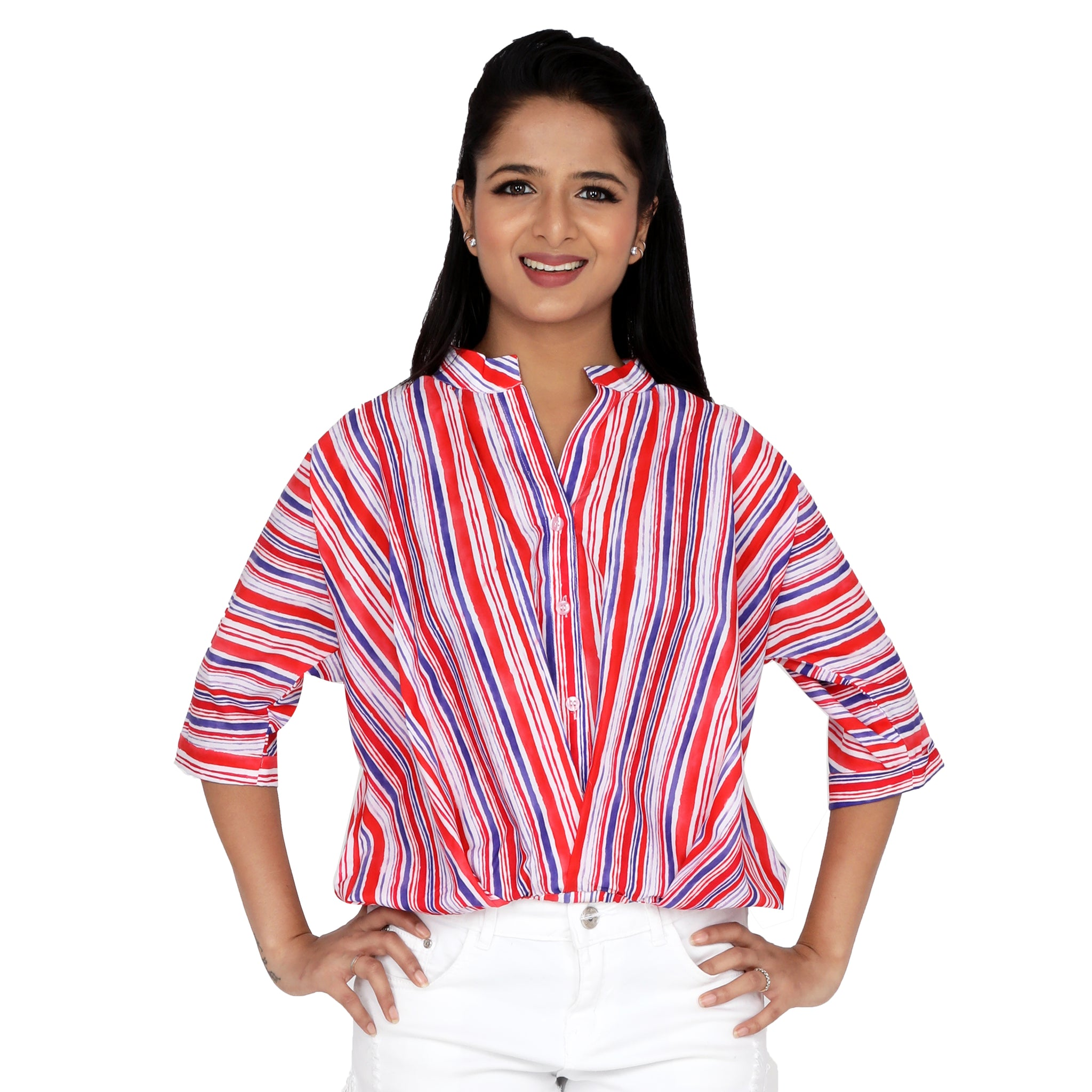 Front Gathered Coloured Stripes Semi Formal Shirt