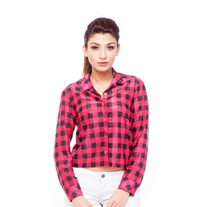 Red Checkered Cropped Shirt