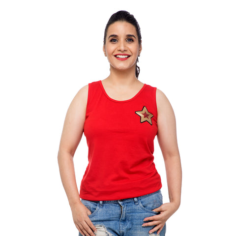 Red Star Applique Tank Top