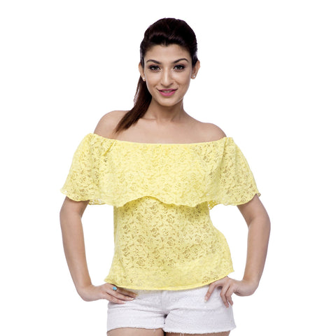 Lacy Buttercup Off-Shoulder