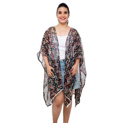 Tribal Vibe Kaftan Shrug with Delicate Lacework