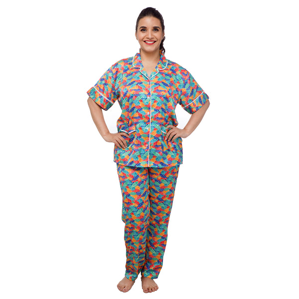 Fish-print-women's-satin-night-suit-set-online