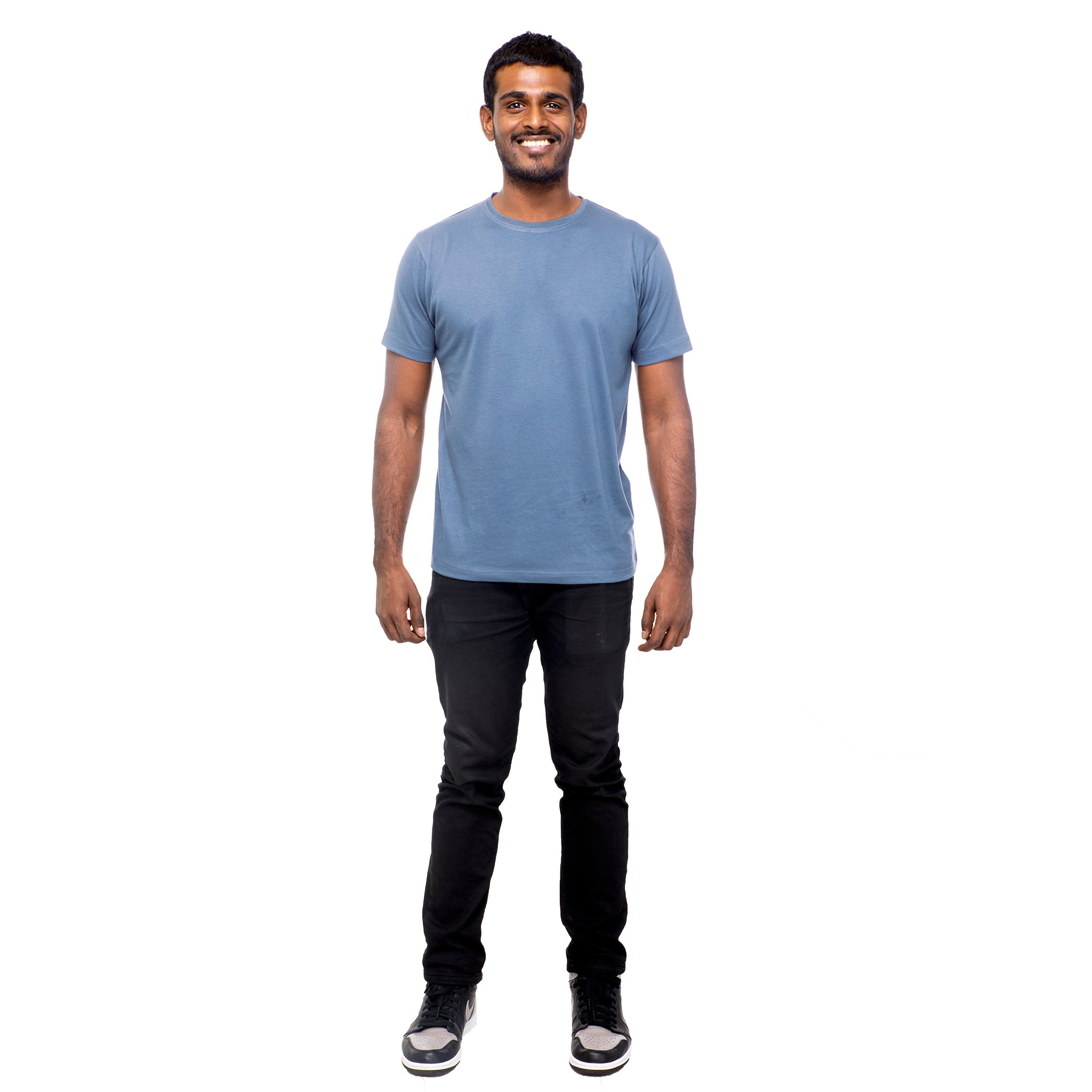 Slate Blue Plain Round Neck T-shirt