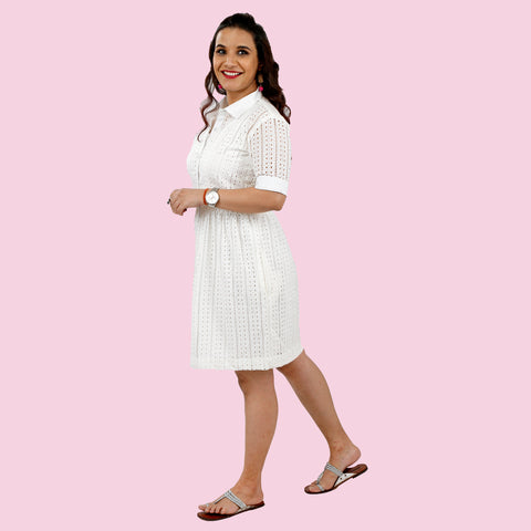 Pure White Hakoba Luxe Dress