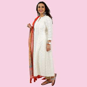Embroidered White Kurta With Sequin