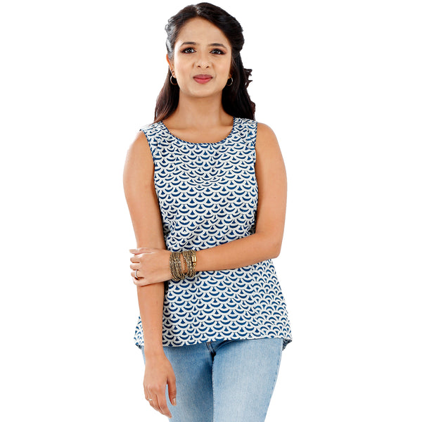 dabu print indigo sleeveless top for women