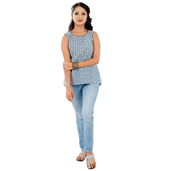 Traditional Dabu Print Sleeveless Summer Top