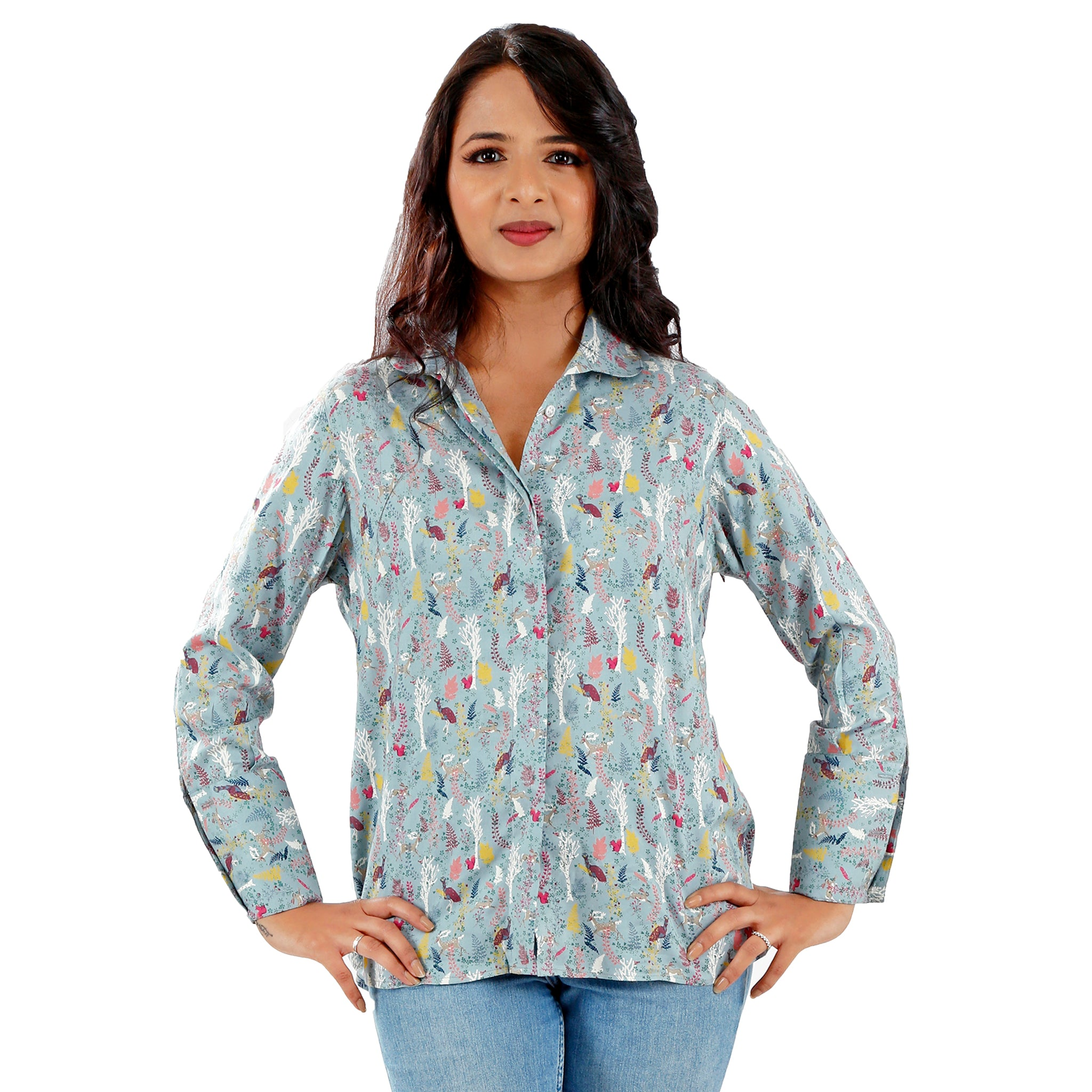 peacock print casual top for women in teal blue