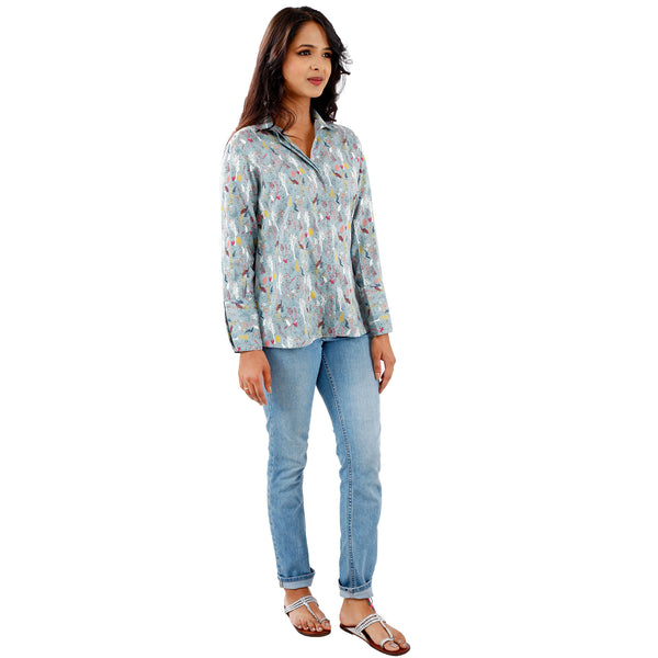 Peacock In The Fields Semi Formal Shirt