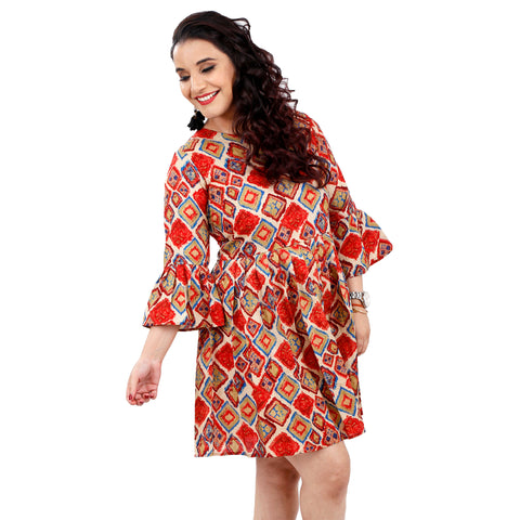Luxe Tussar Silk Dress With Bell Sleeves