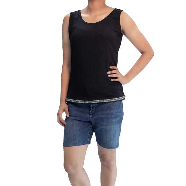Wardrobe Staple Black Tank Top with Lacework