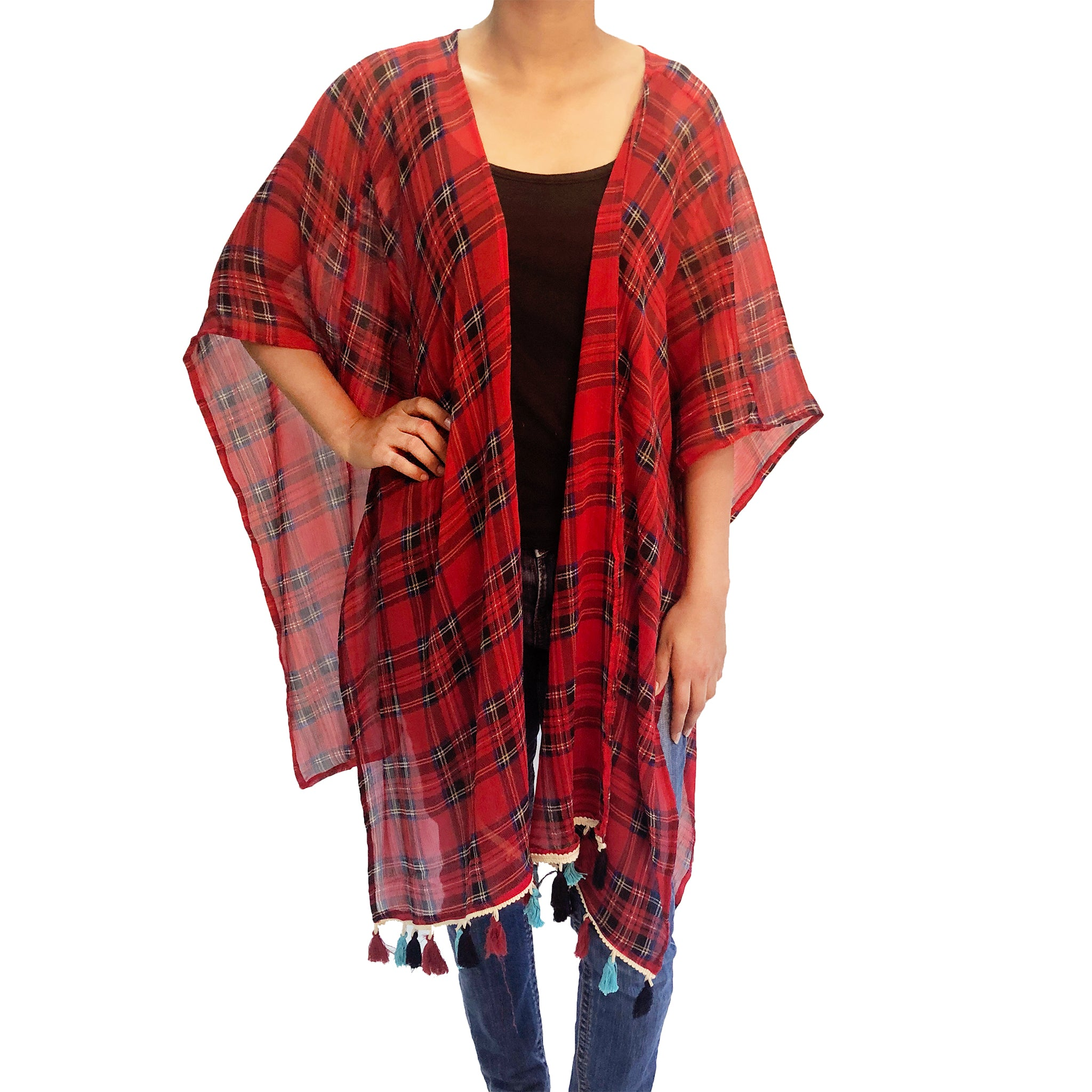 Classic Red Kaftan Shrug With Tassels