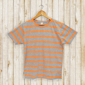 Orange Striped Grey Men's T-shirt