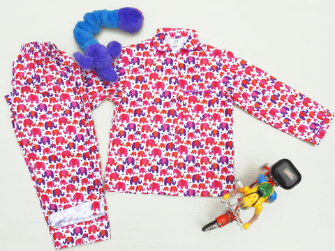elephant-print-kids-cotton-night suit-online