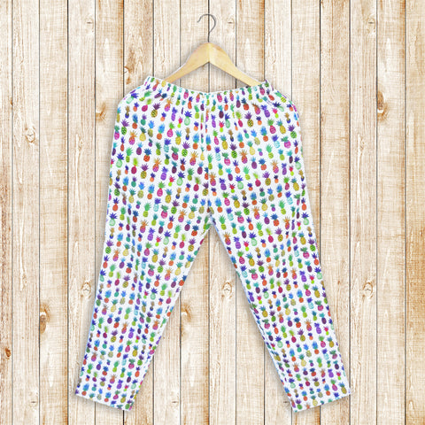 Tropical Pineapple Women's Pajamas With Pockets